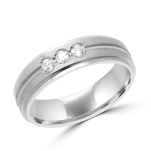 Men bold diamond wedding band in 10k white gold