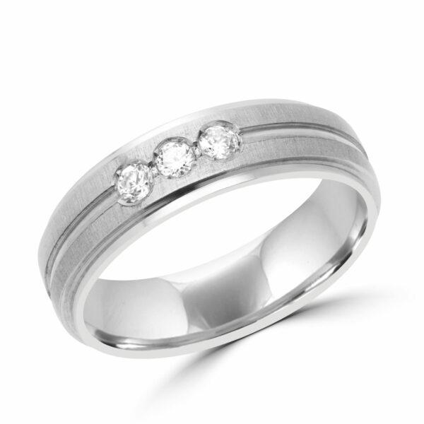 Men bold diamond wedding band in 10k white gold