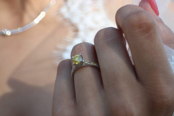 One of a kind solitaire canary diamond engagement ring