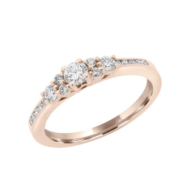 14k rose gold 0.42 ct diamonds engagement anniversary ring