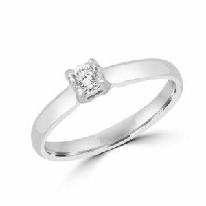 Elegant solitary engagement ring 0.20 (ctw) in 14k white gold