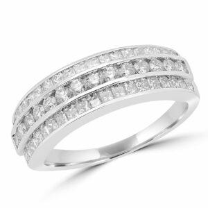 Engagement ring set princess cut and round diamonds 1.05 ct si g