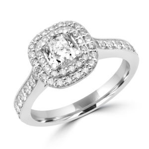 Halo sparkling engagement ring 0.58 (ctw) + CZ center in 14k white gold