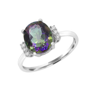 Fancy diamond & mystic topaz ring in 14k white gold