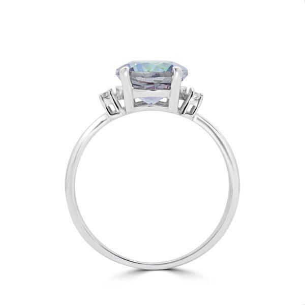 Fancy diamond & mystic topaz ring in 14k white gold