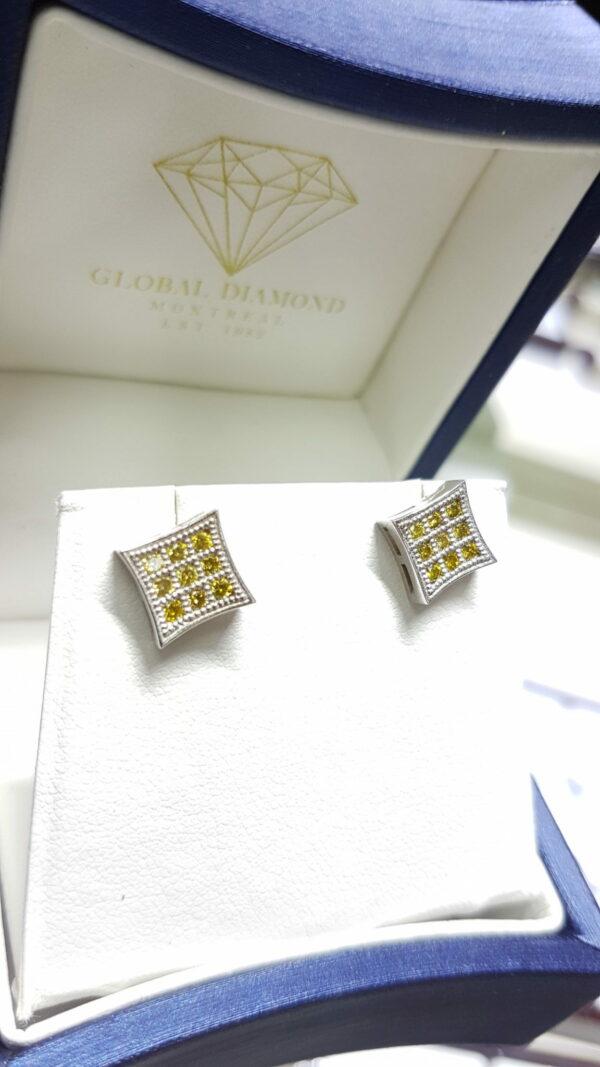 Canary diamond earrings ctw (0.42) in 14k white gold