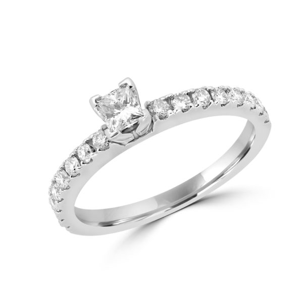 Princess cut round diamond engagement ring 0.57 ct 14k white gold