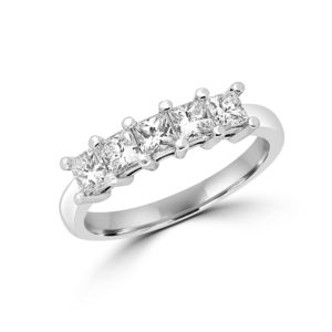 Semi eternity engagement ring set princess cut diamonds 1.01 ct si g