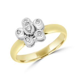 18k diamond promise ring 0.14 ct yellow and white gold