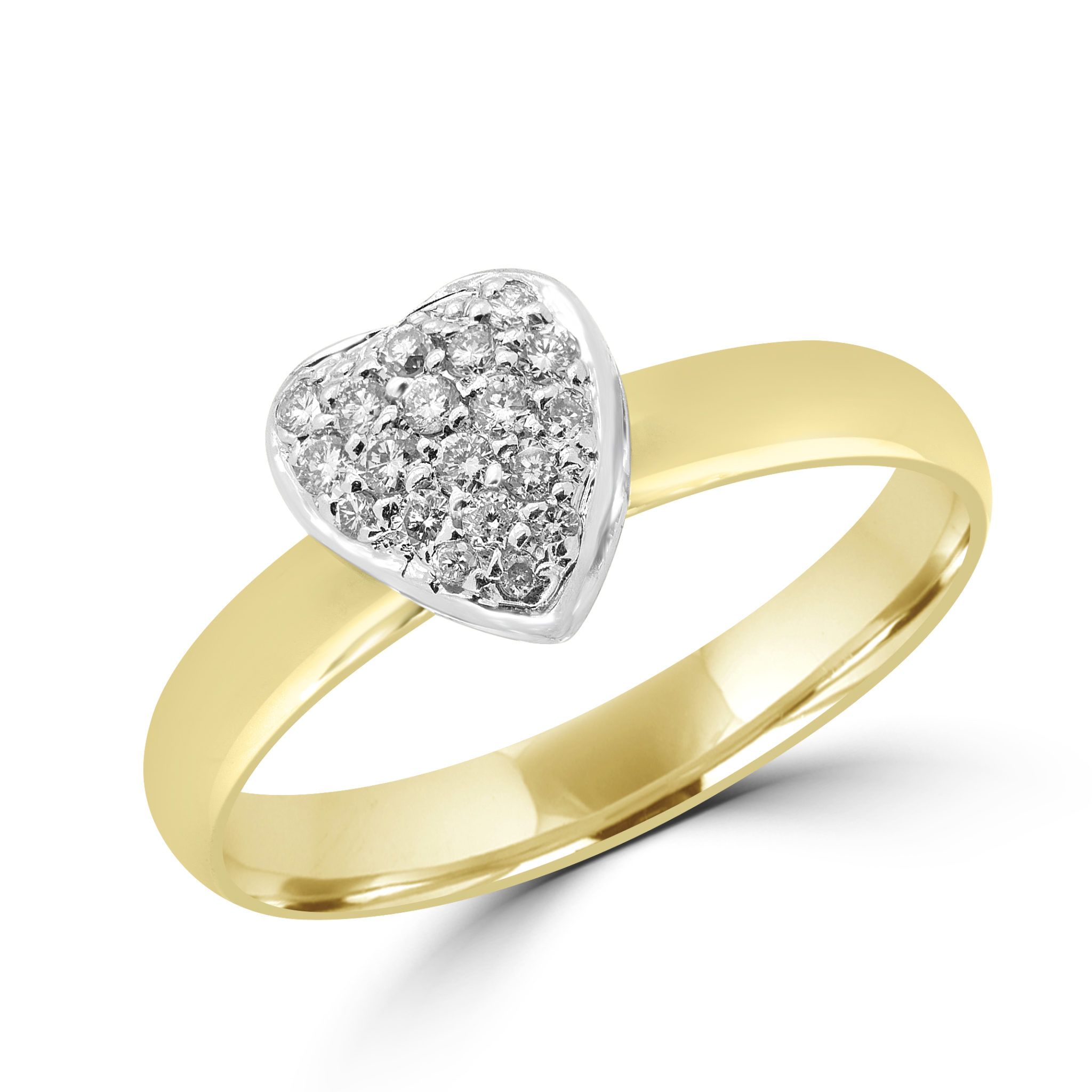 18k heart diamond promise ring 0.14 ct yellow and white gold