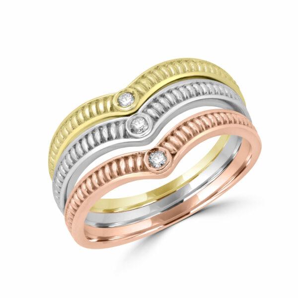 10k rainbow three color diamond ring 0.06 carat si