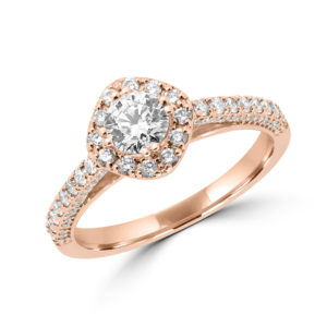 Engagement 14k rose gold halo ring 1.08 ct si diamonds