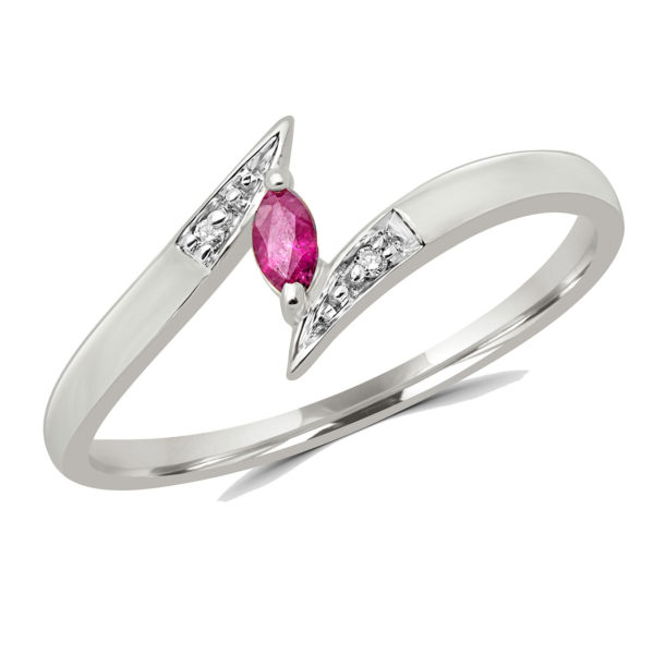 Marquise cut ruby & diamond cocktail ring in 10k white gold