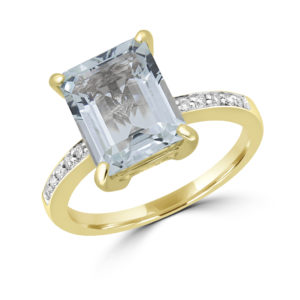 Aquamarine emerald cut 0.08 (ctw) diamond ring