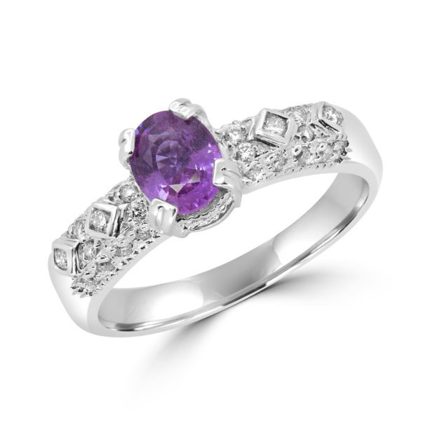 0.50 carat pink sapphire 0.20 carat diamonds ring 10k white gold