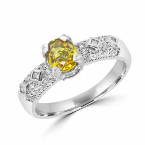 0.50 carat yellow sapphire 0.20 carat diamonds ring 10k white gold