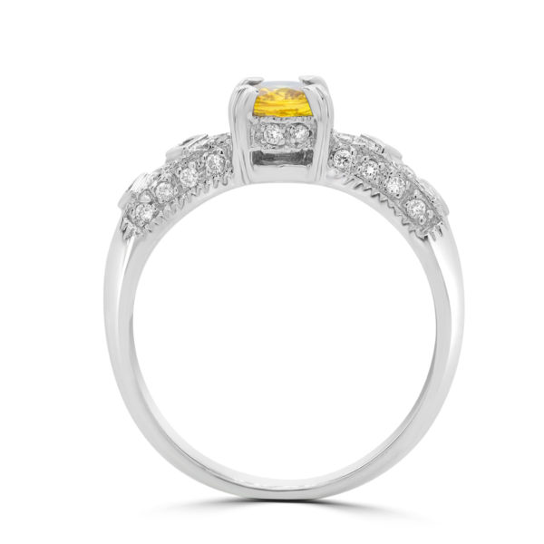 0.50 carat yellow sapphire 0.20 carat diamonds ring 10k white gold side 3