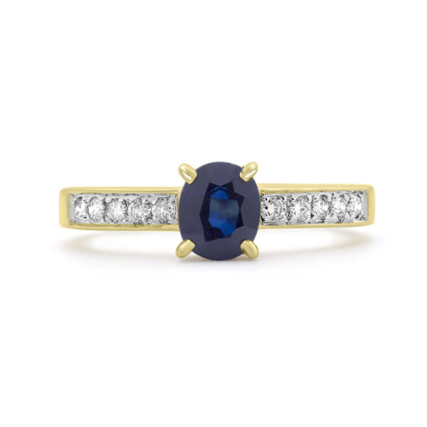 0.50 carat blue sapphire 0.18 carat diamonds ring 10k yellow gold side 2