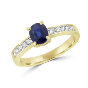 0.50 carat blue sapphire 0.18 carat diamonds ring 10k yellow gold