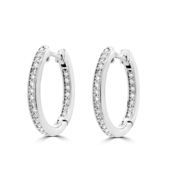 0.85 ctw channel set round diamond si hoop earrings 14k white gold