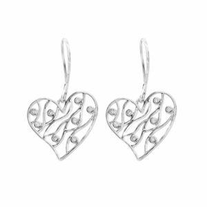 0.16 carat diamond heart earrings 10k white gold