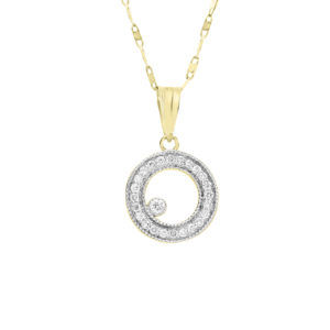 0.15 ct diamonds pendant necklace circle of life 14k yellow gold