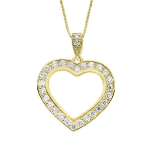 Diamond heart pendant in 14k yellow gold 0.52 (CTW)