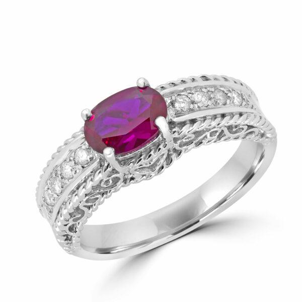 0.50 carat hybrid ruby 0.16 carat diamonds ring 10k white gold