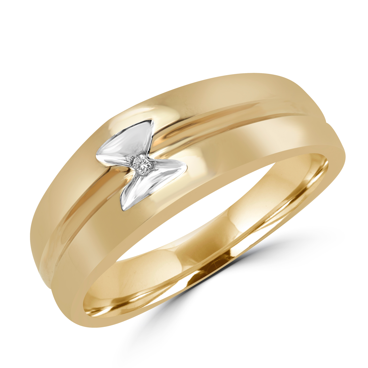 men's stylish ring in yellow gold