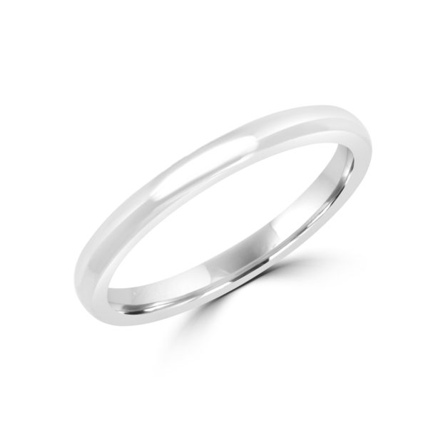 Classic fine wedding band in white gold