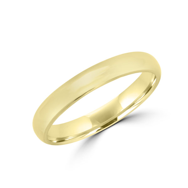 High polish wedding band in yellow gold
