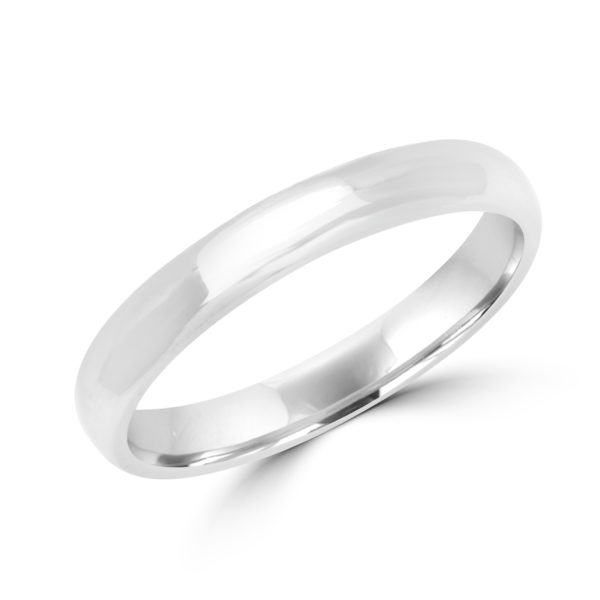 High polish wedding band in white gold