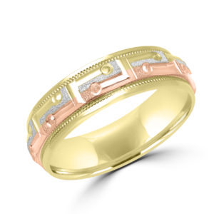 Tri color spunky wedding band