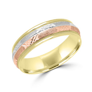 Enchanting tri color wedding band