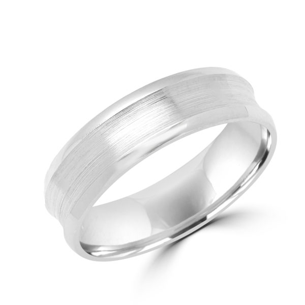 Delightful brushed style wedding band in white gold Montreal
