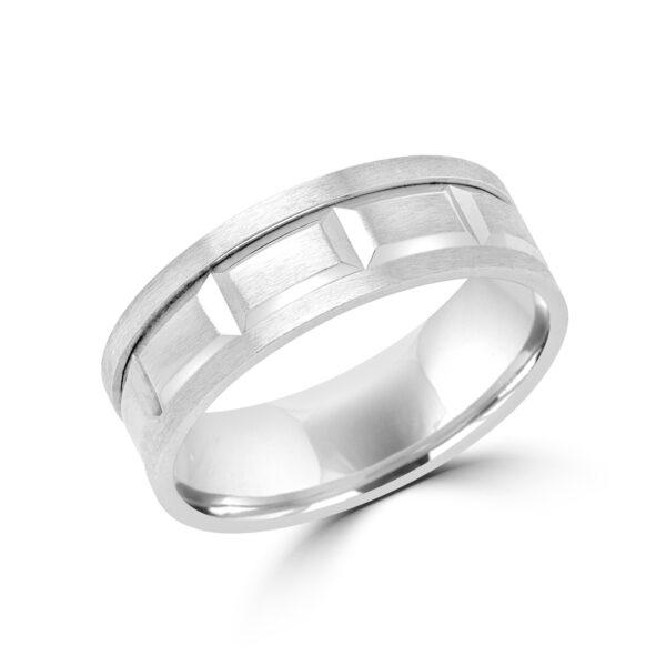 Striking design wedding band in white gold