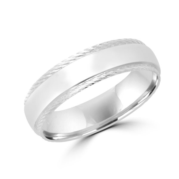 Alluring brushed wedding band in white gold Montreal
