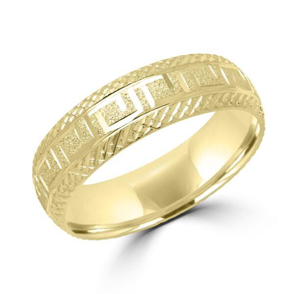 Hypnotic greek key wedding band in yellow gold Montreal