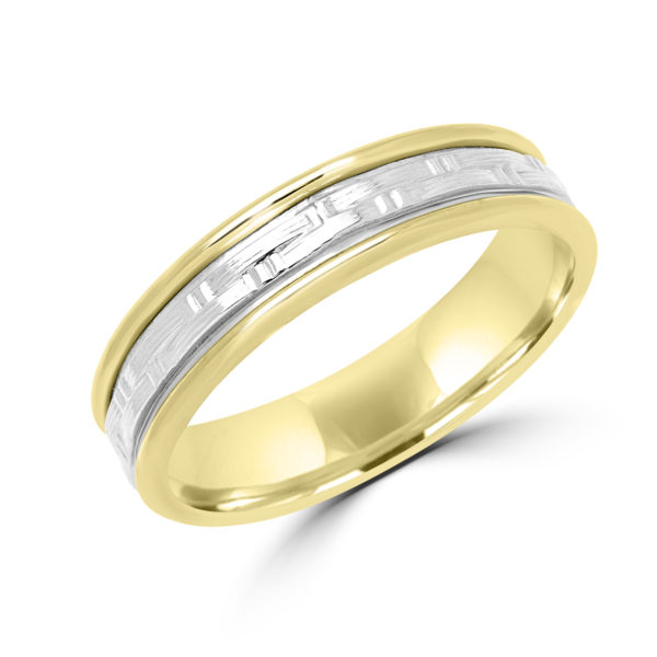 Two tone hammered look wedding Band Montreal