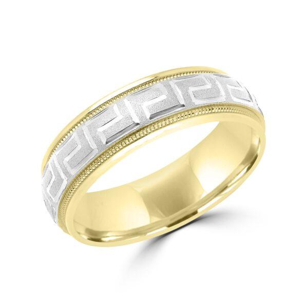 Two tone greek key wedding band in yellow & white gold Montreal