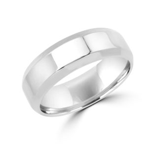 Spunky style white gold wedding Band (6mm) Montreal