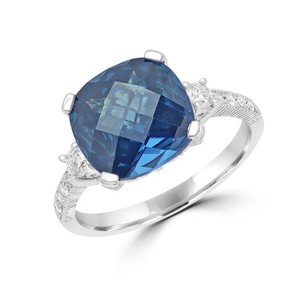 Cushion cut sapphire color CZ & diamond ring in 14k white gold
