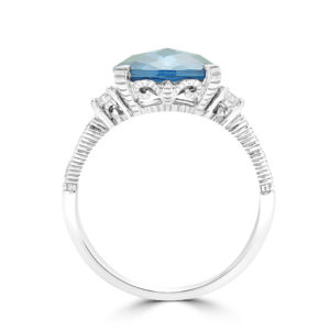 Cushion cut sapphire color CZ & diamond ring in 14k white gold