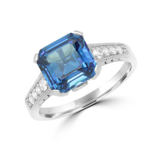 Exquisite blue CZ & diamond ring in 14k white gold