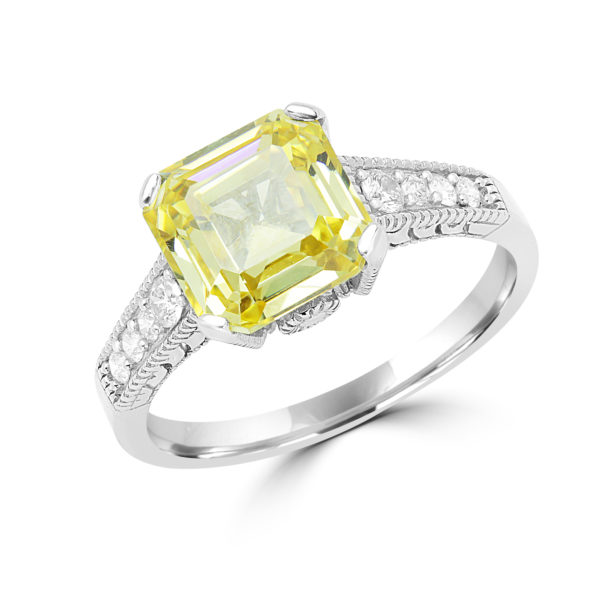 Exquisite canary yellow CZ & diamond ring in 14k white gold