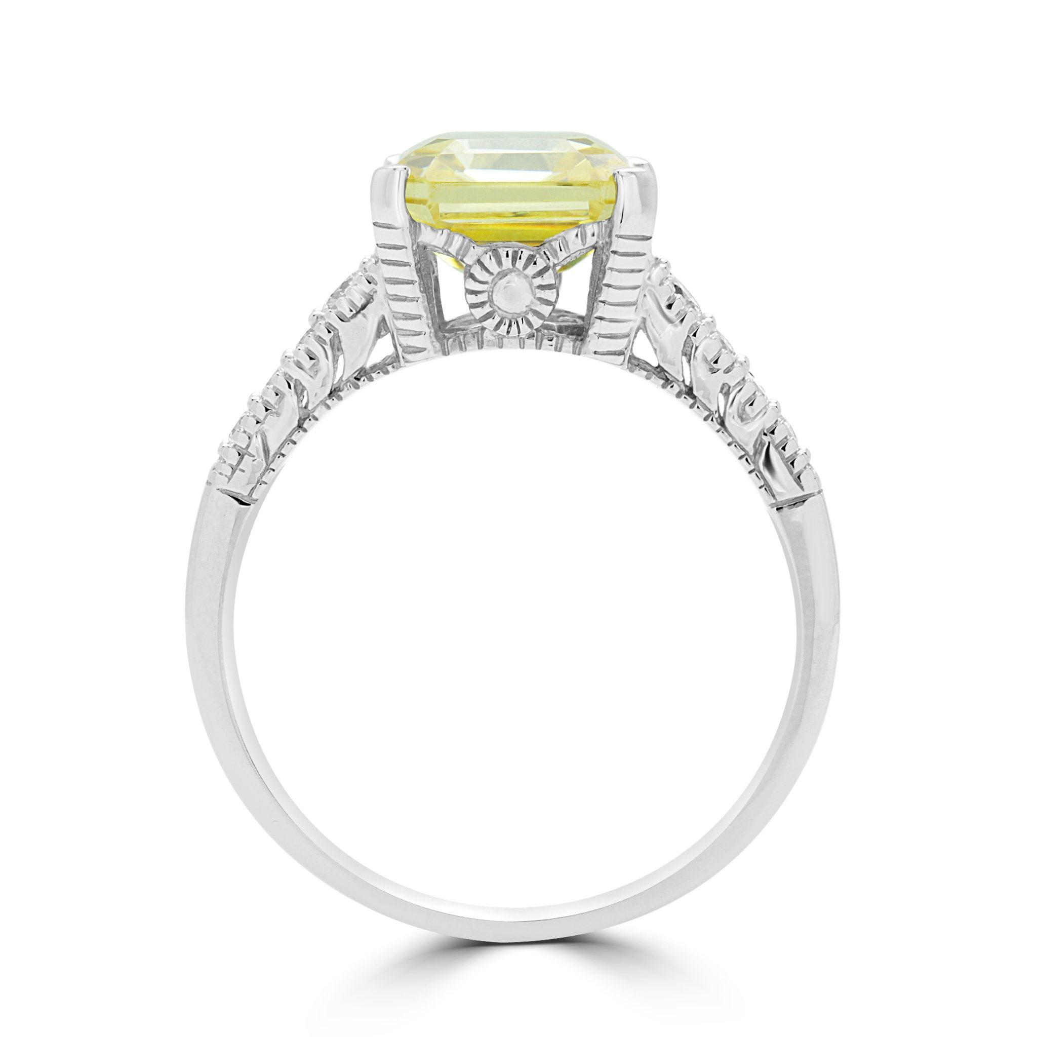 chaussures exclusives vente limitée original Bague CZ & diamant jaune canari en or blanc 14k