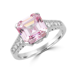 Exquisite pink CZ & diamond ring in 14k white gold