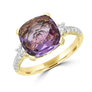 Cushion cut amethyst color CZ & diamond ring in 14k yellow gold