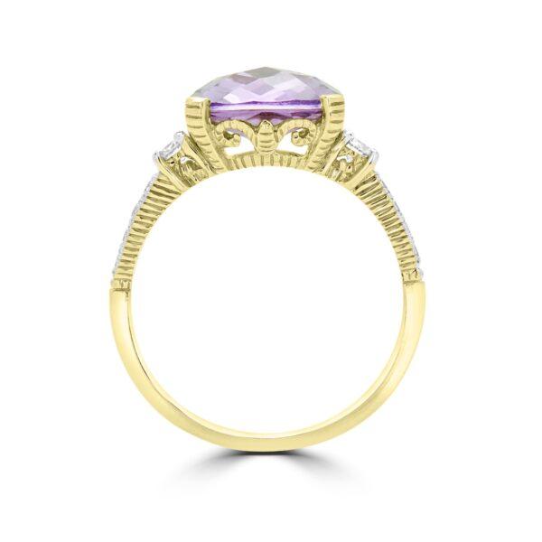 Cushion cut amethyst color CZ & diamond ring in 14k yellow gold
