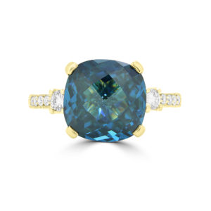 Cushion cut sapphire color CZ & diamond ring in yellow gold
